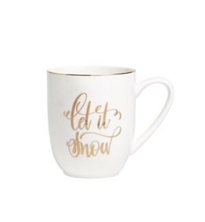 Let It Snow Metallic Message Coupe Mug Gold