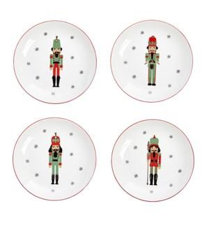 Nutcracker Desert Plate Set of 4 Red