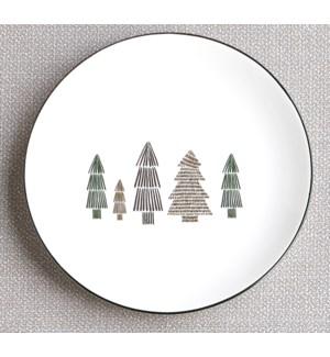 Tree Dessert Plate Set Of 4 Green/Metallic