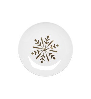 Snowflake Ceramic Plate Set Of 4 Gold