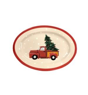 Vintage Christmas Serving Platter Red