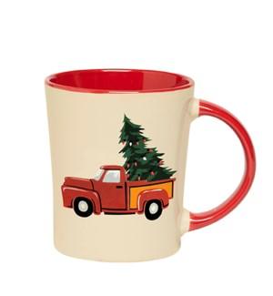 Vintage Christmas Mug Red