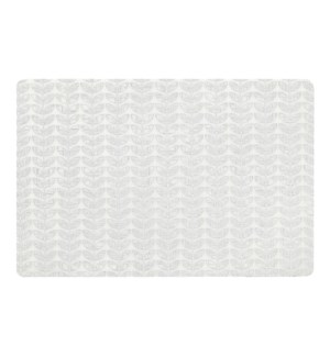 Etch Leaf Printed Soft Touch Placemat White