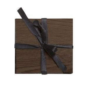 Faux Wood Coaster Set Of 6 Dark Chestnut
