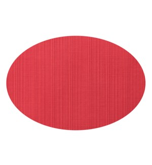 Linnea Rib Oval Vinyl Placemat Red