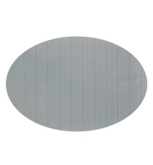Linnea Rib Oval Vinyl Placemat Grey
