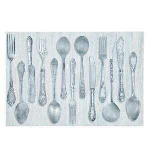 Rustic Cutlery Printed Vinyl Placemat Grey