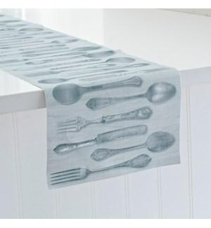 Rustic Cutlery Printed Vinyl Table Runner Grey