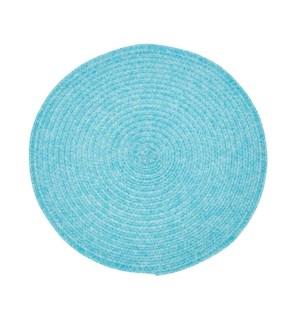 Urban Two Tone Woven Round Vinyl Placemat Aqua