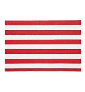 Cabana Stripe Vinyl Placemat Red