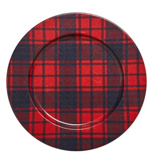 Lodge Plaid Charger Plate Red