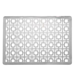 Squares Laser Cut PVC Placemat Silver