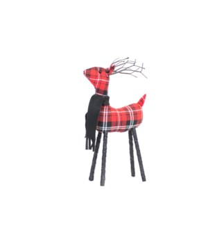 Plaid Standing Reindeer Small Red/Black