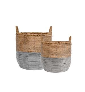 Delray Set Of 2 Seagrass Totes Grey