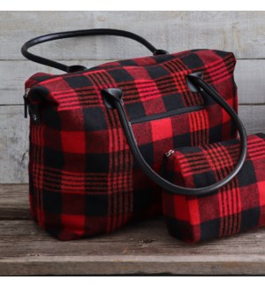 Buffalo Plaid Zippered Tote Large Red/Black