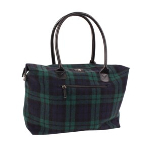 Northern Check Zippered Tote Large Green/Blue