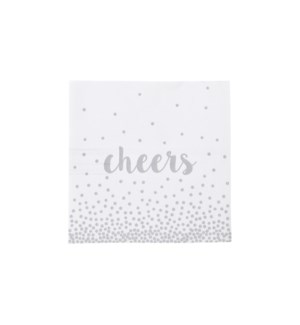Cheers Cocktail Napkin 100Pk Silver