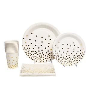 Gold Dot Paper Party Pack 50Pc Gold