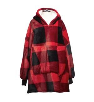 Buffalo Check Sherpa Oversized Hoodie Red