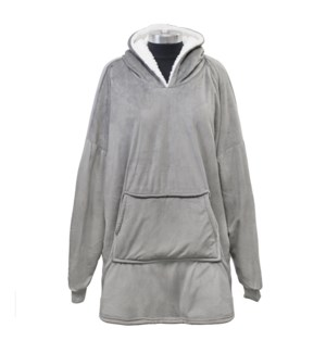 Buffalo Check Sherpa Oversized Hoodie Grey