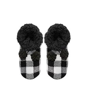 Buffalo Check Lounge Slipper Black/White