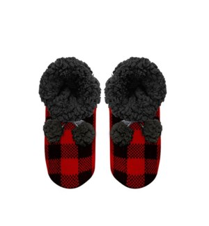Buffalo Check Lounge Slippers Black/Red