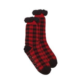 Buffalo Check Lounge Sock Black/Red