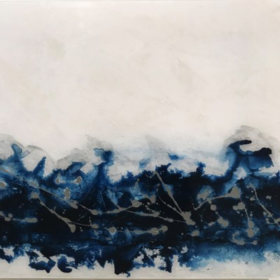 Electric Blue II - Reverse Painted Lucite