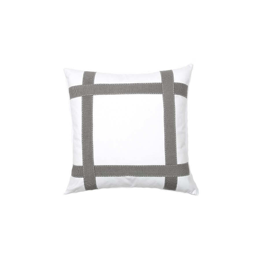 Bradford Tape Pillow - Snow