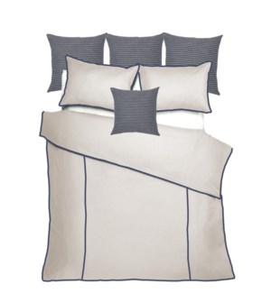 Churchill Linen - Flax with Navy Bedset - King