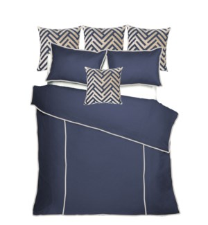 Churchill Linen - Navy with Flax Bedset - King