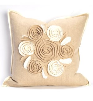 """Churchill Linen - Rose Pillow - Flax/Ivory  -  22"""" x 22"""""""