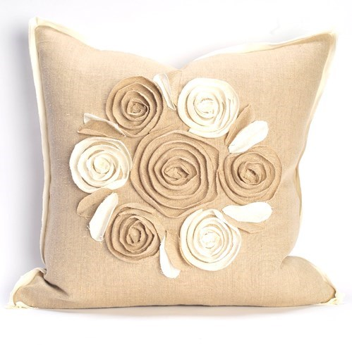 "Churchill Linen - Rose Pillow - Flax/Ivory  -  22"" x 22"""
