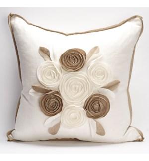 """Churchill Linen - Rose Pillow - Ivory/Flax  -  22"""" x 22"""""""