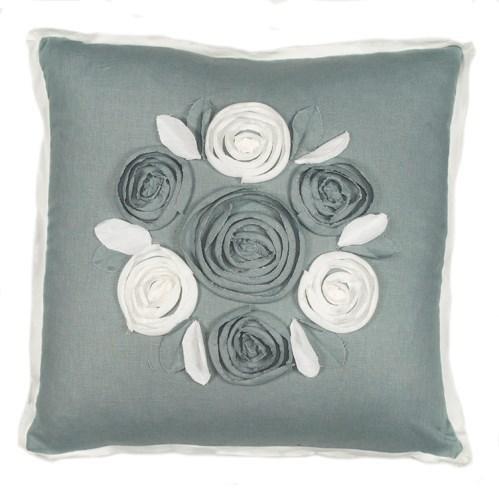 "Churchill Linen - Roses Pillow - Bluemist/Ivory- 22"" x 22"""