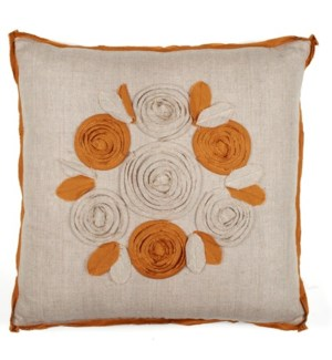 """Churchill Linen - Roses Pillow - Flax/Bronze- 22"""" x 22"""""""