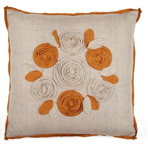 "Churchill Linen - Roses Pillow - Flax/Bronze- 22"" x 22"""