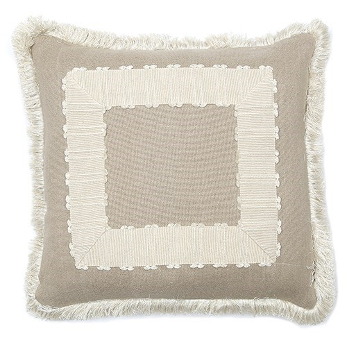 Frame Pillow with Fringe - Aurora Natural