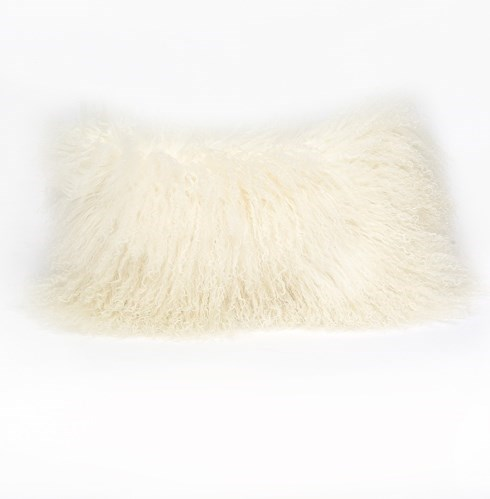 "Tibetan Lamb Ivory Pillow - 10""x 18"""