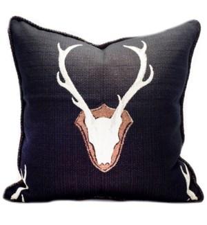 """Oh Deer Black Pillow - 22"""" x 22"""""""