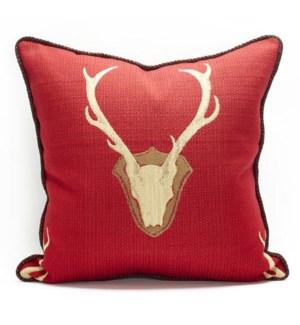 """Oh Deer Red Pillow - 22"""" x 22"""""""
