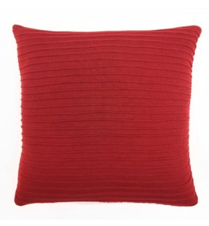"Pleated Knit - Red Pillow - 22"" x 22"""