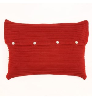 Pleated Knit - Red - Sham - Queen