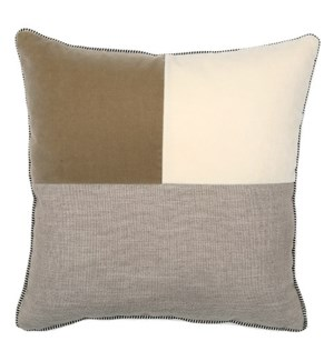 Two Tone Square Pillow - Snow / Taupe