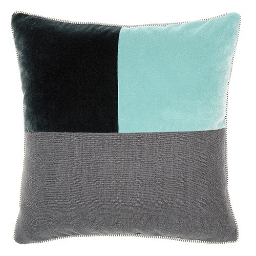Two Tone Square Pillow - Whirlpool / Graphite - Deluxe Sham - King