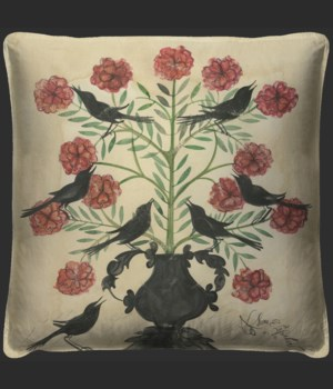 Black Birds in Pink Flowers Pillow