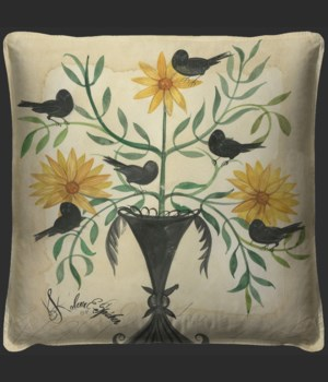 Black Birds in Yellow Flowers Pillow