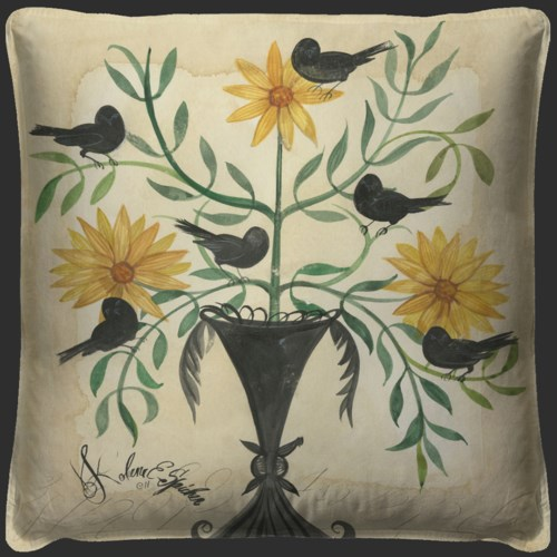 Black Birds in Yellow Flowers Pillow