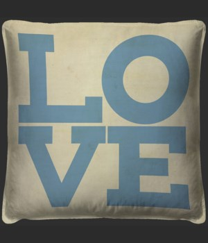 LOVE Blue on White Pillow