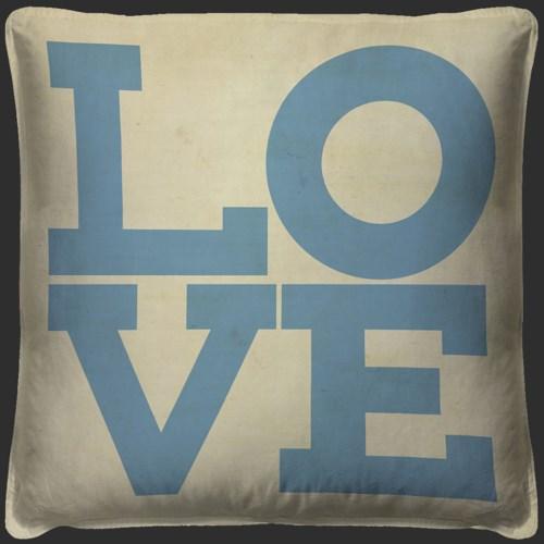 LOVE Blue on White Pillow